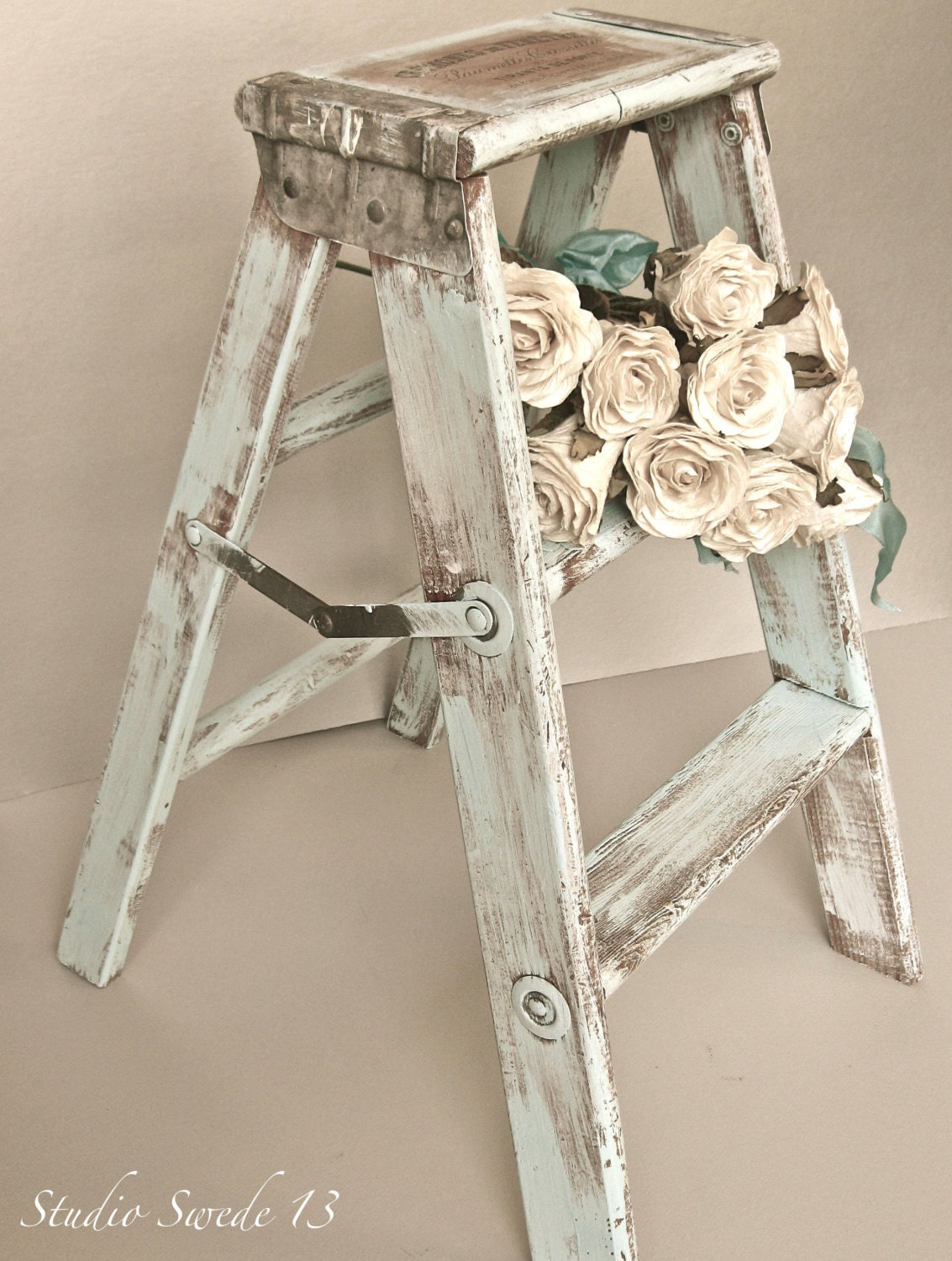 French Country Photography, Fine Art, Vintage Step Stool, Old Ladder, Shabby and Chic, Aqua Blue, Rustic Farmhouse, Wall Art - StudioSwede13