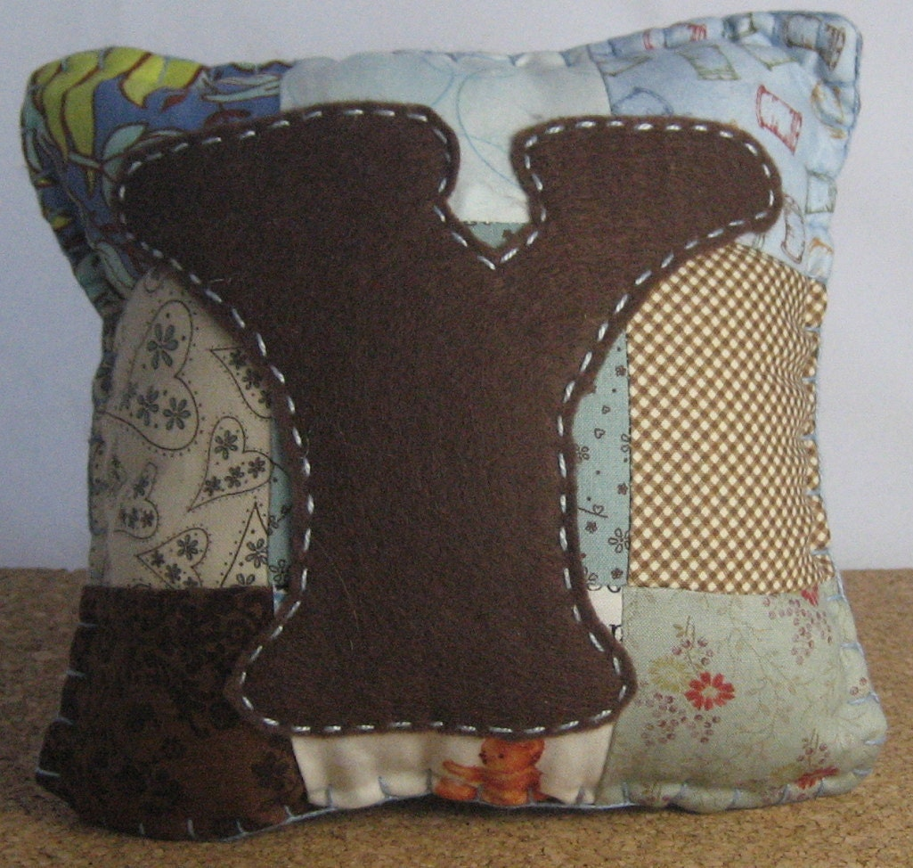 "Brown and Light Blue ""Y"" Tooth Fairy Pillow - FELTITNYC"