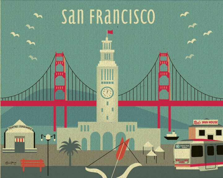 Modern San Francisco Ferry Building Skyline - Poster Print  Wall Art for Home, Office, Child's Nursery - Top Seller - style-E8-O-SF13 - loosepetals