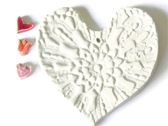 Ceramic White Heart with Organza Ribbon Wedding Decoration - Ceraminic
