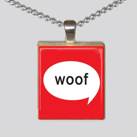 Scrabble Tile Necklace - Woof Dog Print - Red and White Pendant - Innocinch