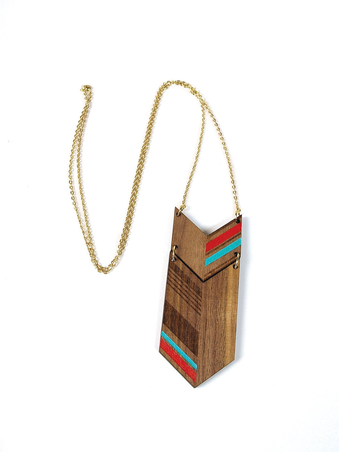 NEW LENGTH  COLO - Laser cut, walnut necklace, color 30""