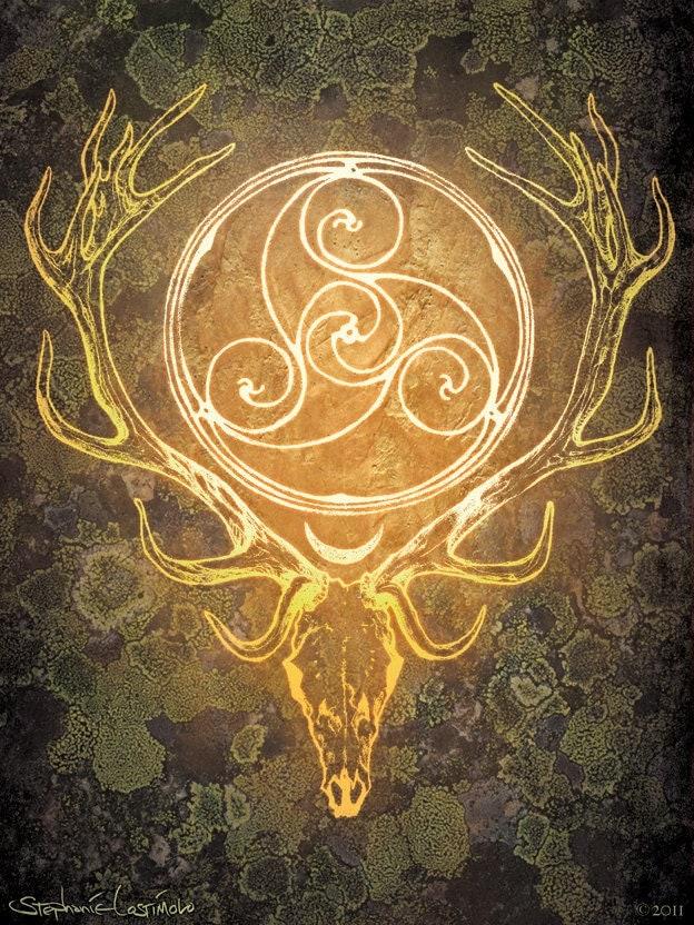 Stag Lord - Herne Cernunnos Celtic Spiral Print