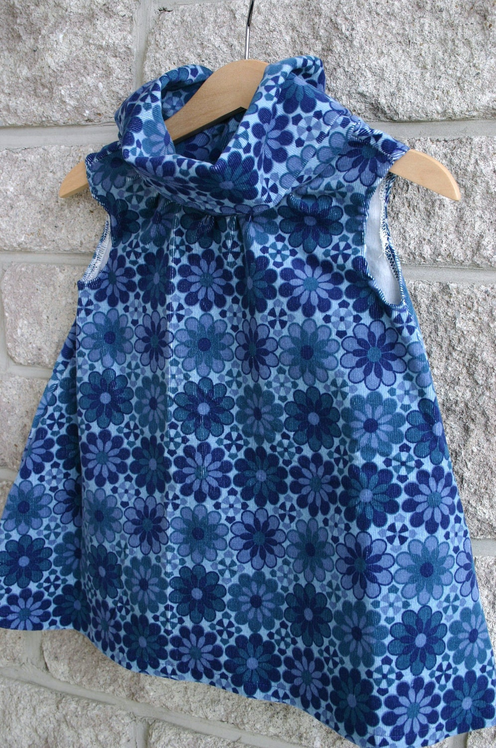 Posh Cowl Corduroy Dress in Blooming Blue, size 2T