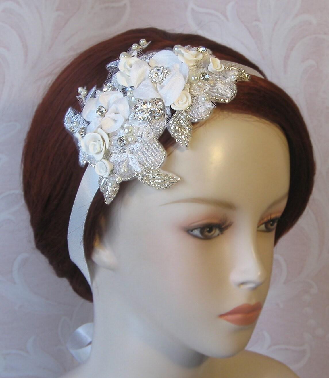 Bridal Headpiece, Headband, Wedding Head Piece, Lace, Flowers, Rhinestones and Pearls, Bridal Cap, Juliet Cap - SOPHIA