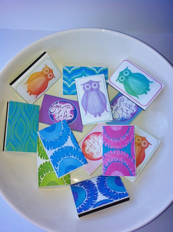 Suzani / Ikat Pattern Matchboxes - Pink, Blue, Green, Purple - Set of 4
