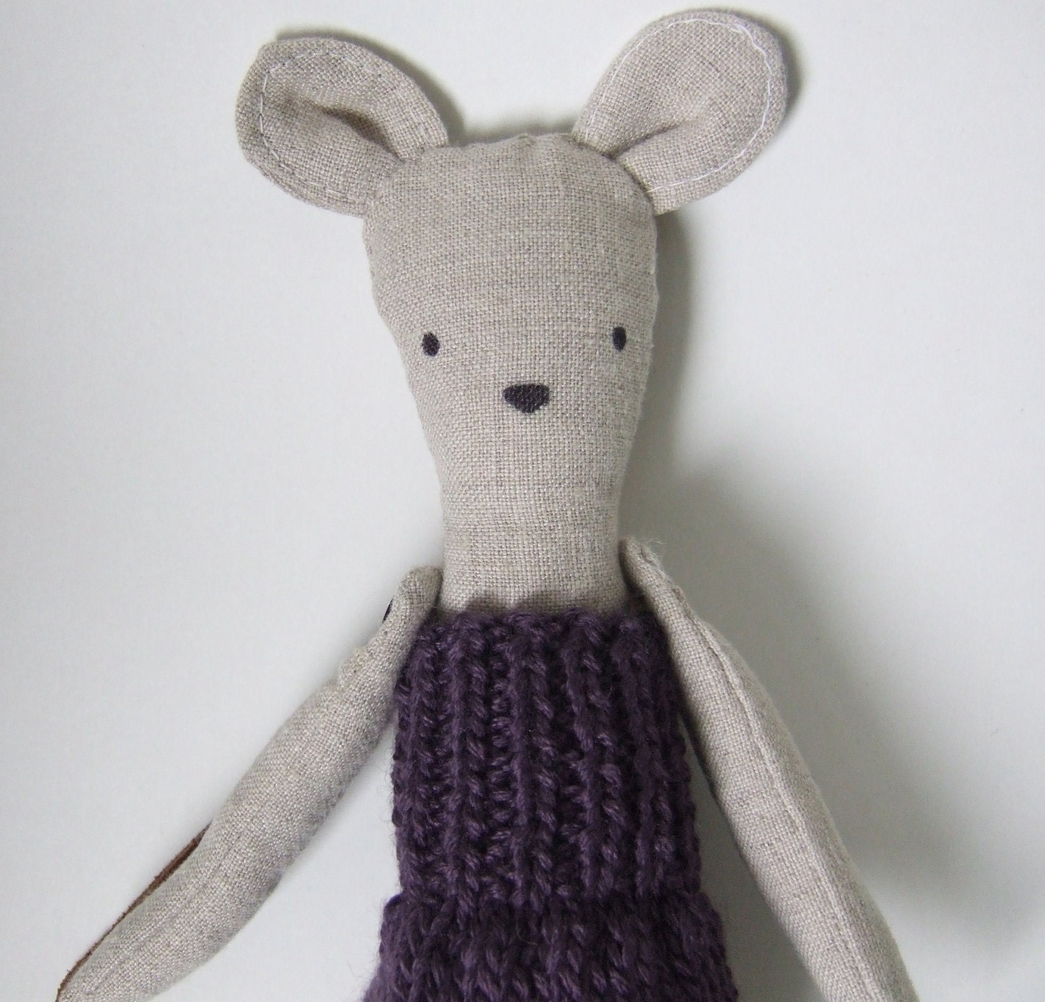 Penelope the linen mouse doll goes to school in her purple knit dress. - mimiandlu