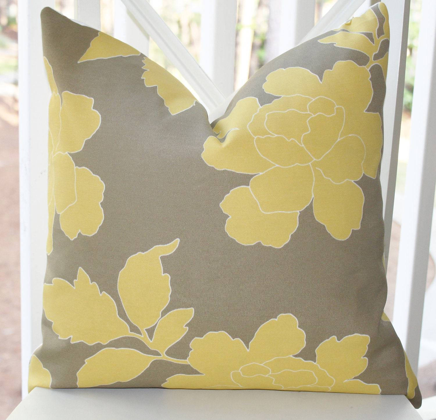 Decorative Pillow Cover Yellow Grey Dwell Studio by MotifPillows