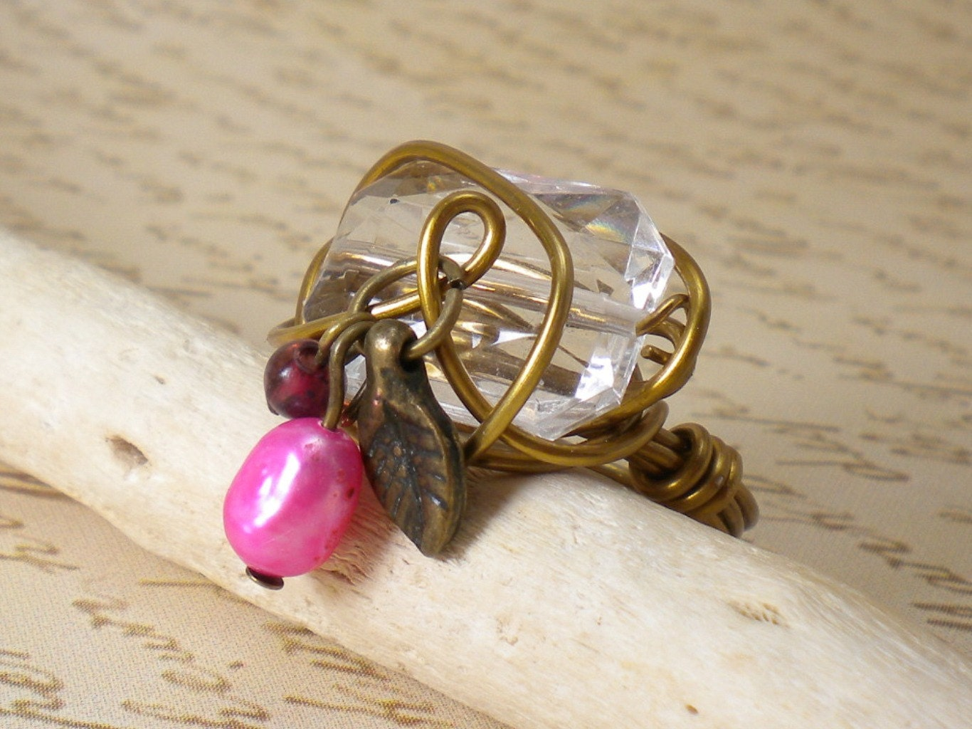 SALE- 50% Off- Gold Purple Leaf Wire Wrap Ring