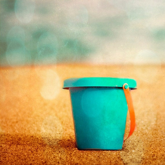 Beach Toy Sand Bucket Art Print - Aqua Orange Ocean Summer Nursery Childrens Room Boy Kids Beach House Home Decor Wall Art Photograph - SevenElevenStudios