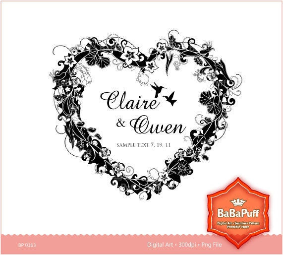 Frame Design Clip art for scrapbooking wedding invitation card