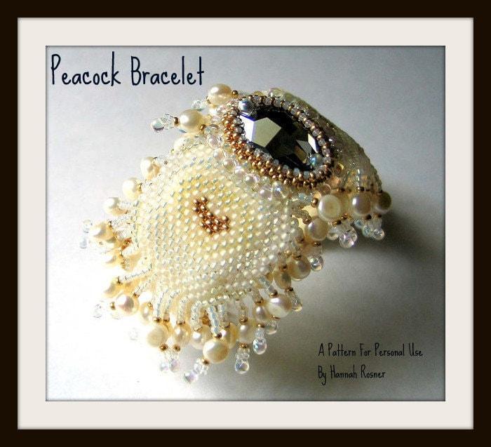 beading pattern peacock cuff bracelet