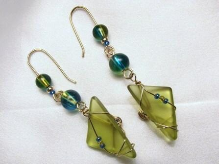 Spring green and turqquoise glass ear rings 14/20 gold filled wire wrapped