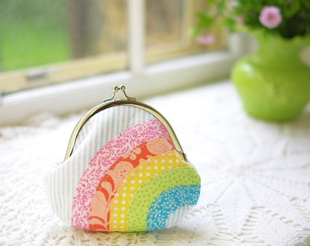 Rainbow Coin Purse: Pastel Colors- Handmade Applique Cute Rainbow Purse- Gift for Her- Birthday Present- Kawaii