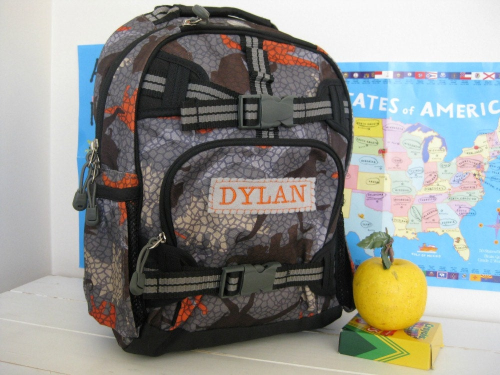 Personalized Kids Backpack Pottery Barn Small Size Gray Dino