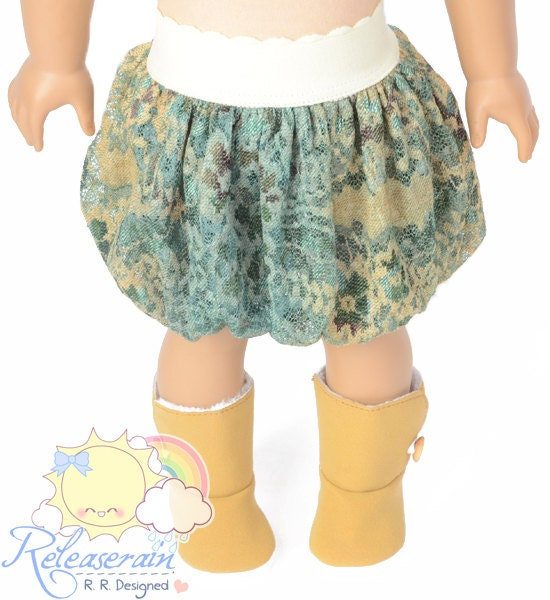 "Light Pale Yellow Elastic Banded Waist Vintage Feel Turquoise/Camel Mesh Tulle Bubble Skirt Doll Clothes Outfit for 18"" American Girl dolls"