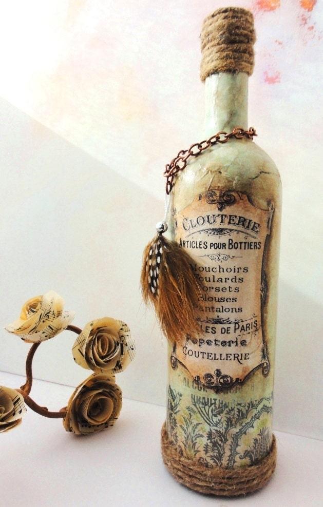 Изабель-французский шик-Centerpiece Свадебный декор, Vintage Inspired ваза бутылка с французским лейблом, уютно, коттедж
