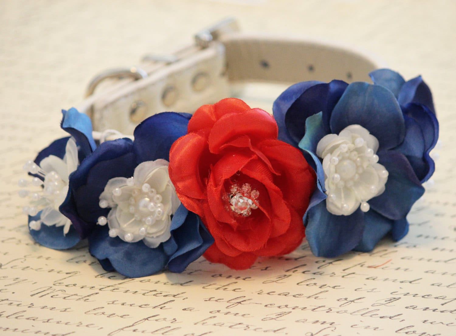 4th of July Celebration - Unique Dog Collar- High Quality leather - Red and blue flowers - Floral Dog Collar with Pearl and Rhinestones - LADogStore