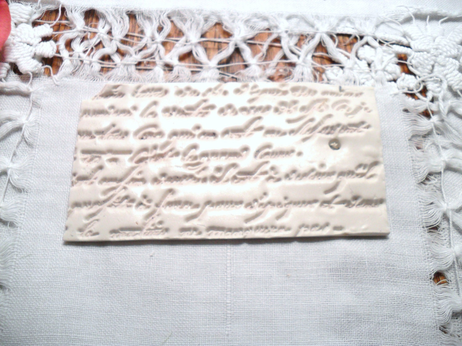 French poem white clay  Handstamped  gift tag by katecreativesalvage
