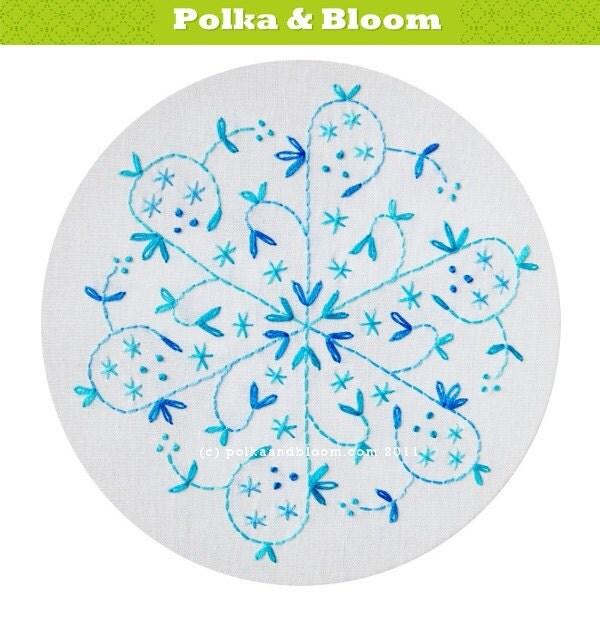 Embroidery Pattern Aqua Snowflake Christmas Winter PDF