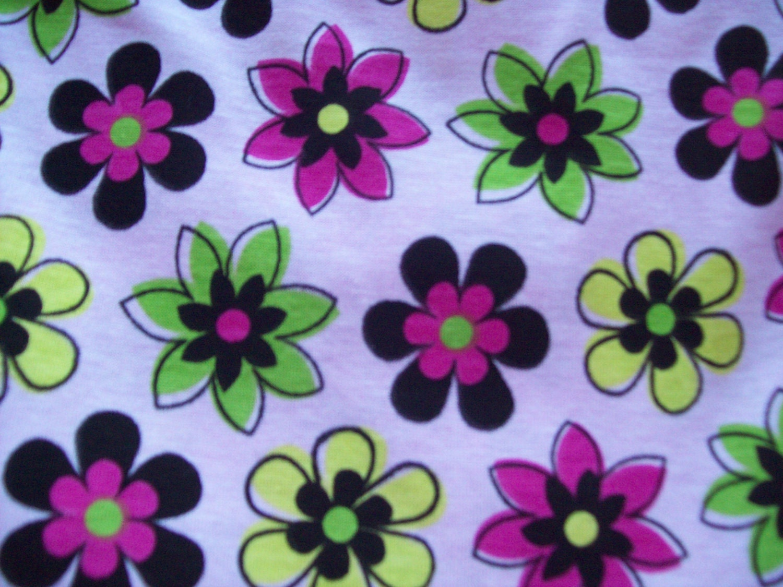 Culottes Modest Split Skirt  Pink w/ Flowers Size 10 Cotton/Knit