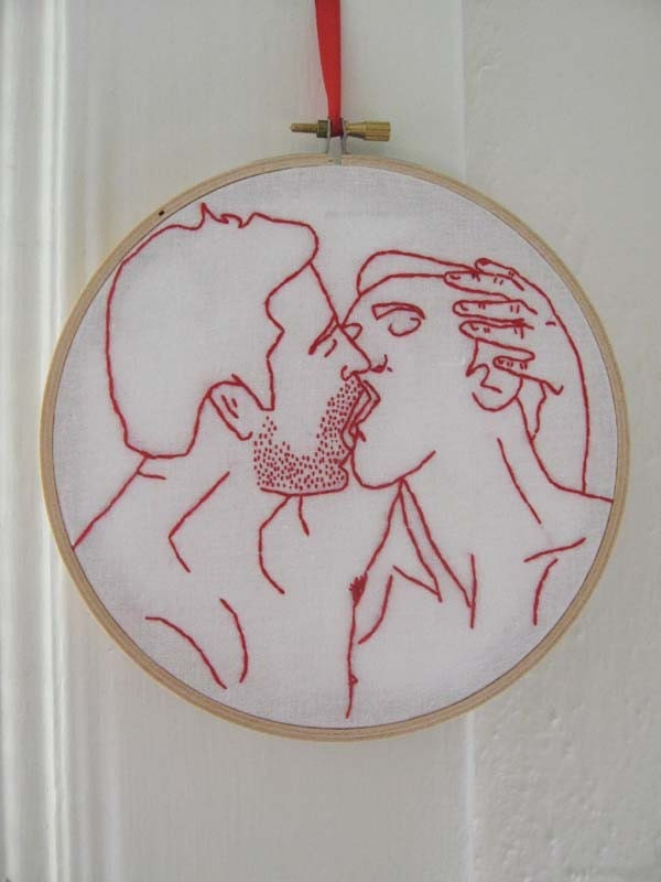 Hand Embroidered Naughty Boy-Boy Redwork - Not Your Grandmother's Embroidery - Free Shipping to any USA Location