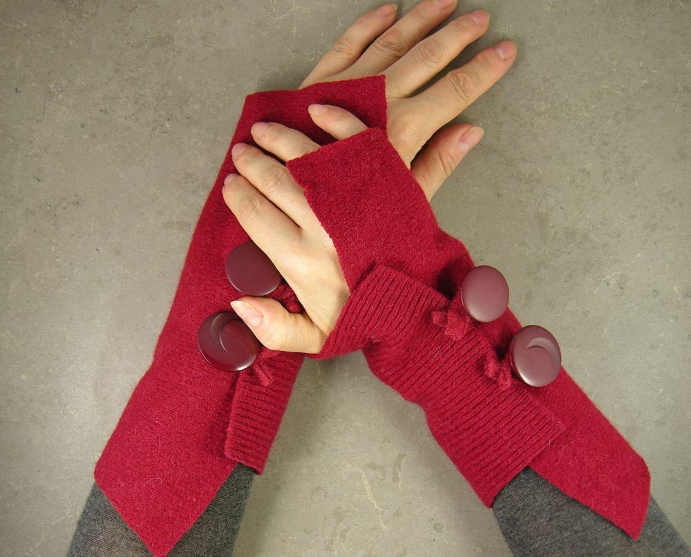 руку обогреватели без пальцев руки варежки манжеты перчатки без пальцев в темно-красный переработанной шерсти