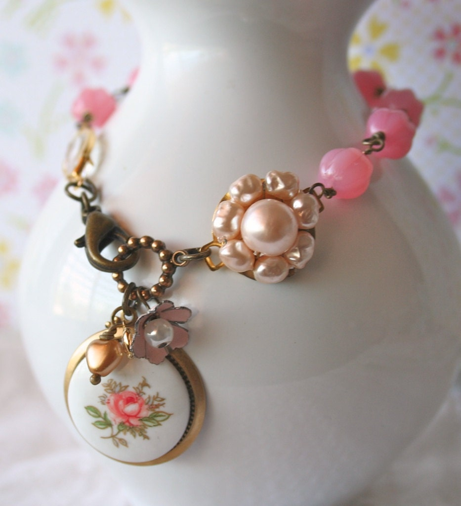 Pink Roses and Lace -  Bracelet