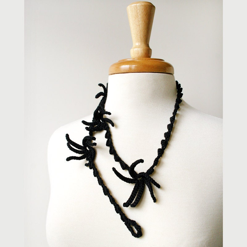 Wearable Fiber Art Jewelry - Silk Crochet Necklace / Lariat No. 5 - Black - TickledPinkKnits