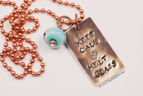 Keep Calm and Melt Glass - Handcrafted by BASTILLE BLEU Lampwork Brass Vintaj Turquoise
