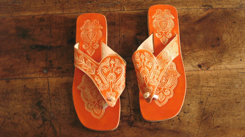 Orange Virgin Vintage Handmade Indian Sandals from Panaji, India - hallieandgretchen
