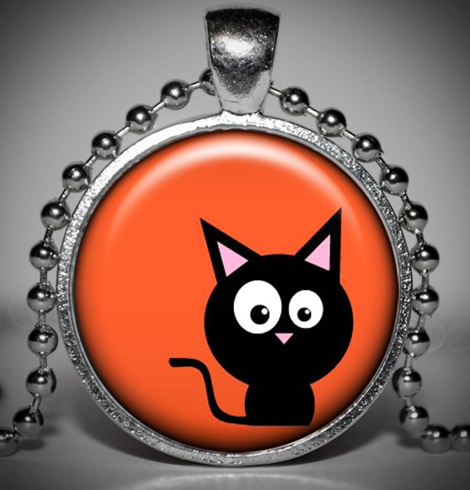 Halloween Cat Pendant-Halloween Necklace-Halloween Jewelry - Jaylos