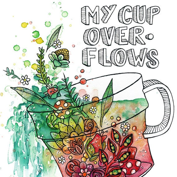 Cup of LOVE--Coffee, Tea and Flowers--Nursery Wall Art--Limited Edition Watercolor Print
