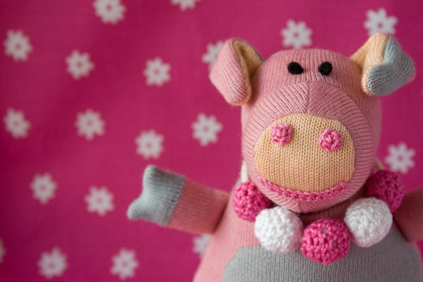 Charlotte the Piggy, knitted doll - cheerful gift for boys and girls from 3 till 99 years old - FrejaToys