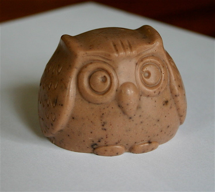 Scrumptious Chocolate owl soap made with shea butter - Redblossomshop