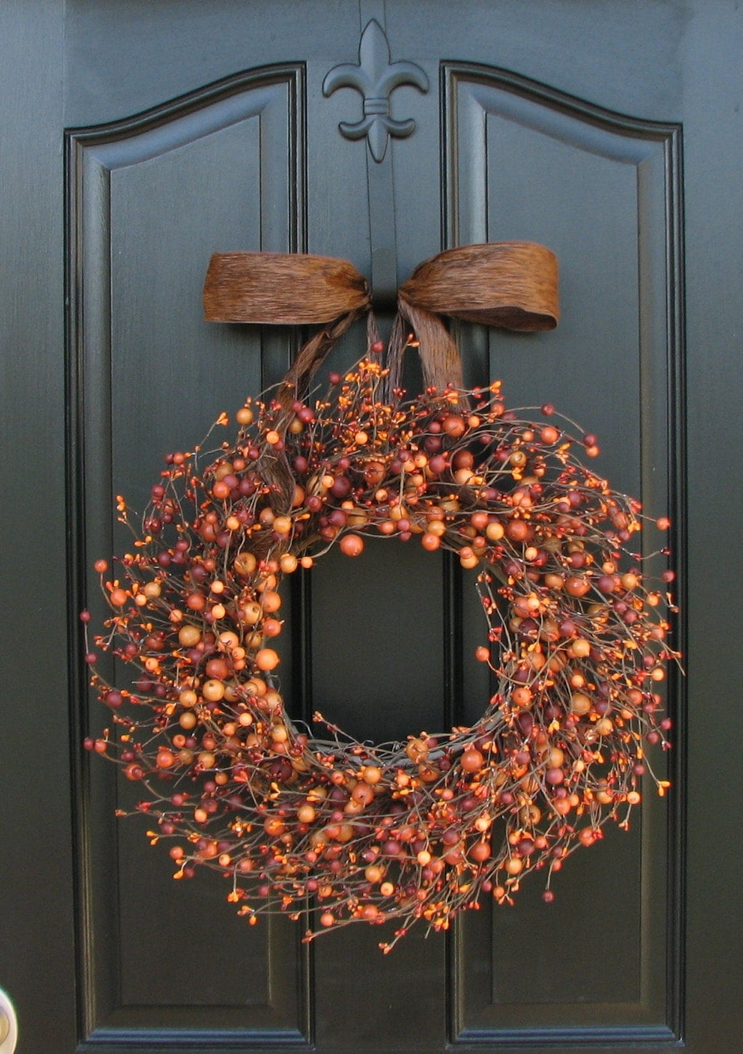 Pumpkin Pie - Fall Berry Wreath - Harvested Berries - Orange Berry Wreaths - Halloween Decor - Front Door Display