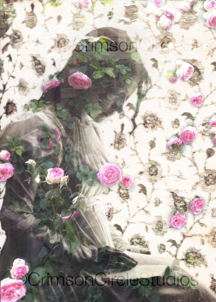 DIGITAL COLLAGE 5x7 Garden of Tranquility - portrait, feminine, nostalgic, ethereal. - CrimsonCircleStudios