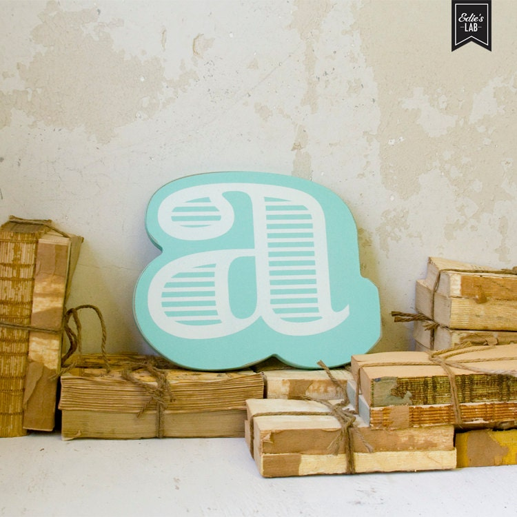 Aqua Letter A Wall Decor Striped