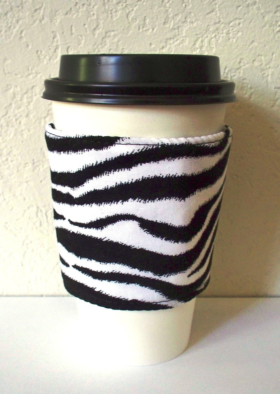 Eco Friendly Fabric Coffee Sleeve - Hot n Cold Insulated, Black and White Zebra Print - WhiteHorseCottage
