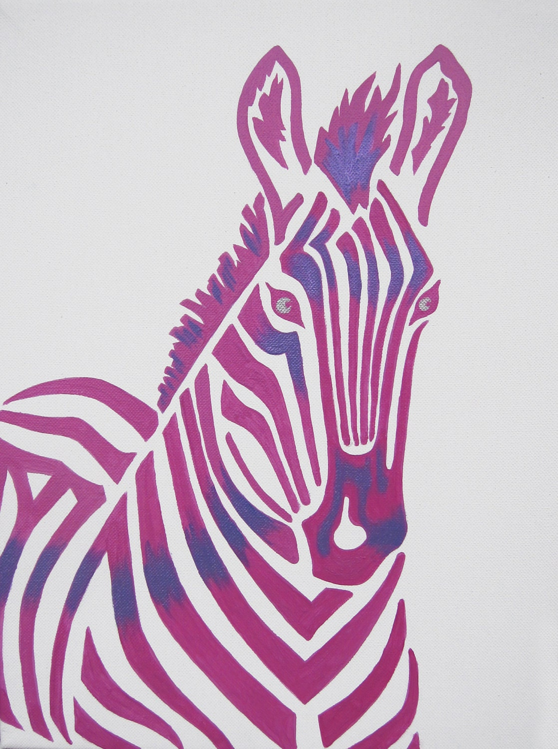 Pink Zebra Safari Nursery Art Zoo Animal. Jungle by ModernKidsArt