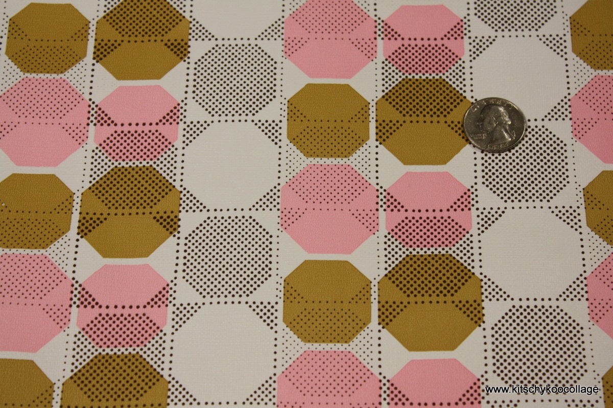 1970's Vintage Wallpaper vinyl pink brown black geometric fabric backed wallpaper