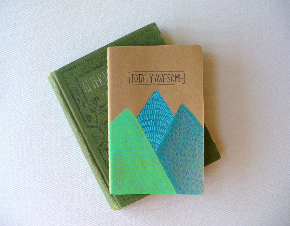 moleskine notebook - totally awesome, hand painted, illustrated, pocket notebook, mountains - MessyBedStudio