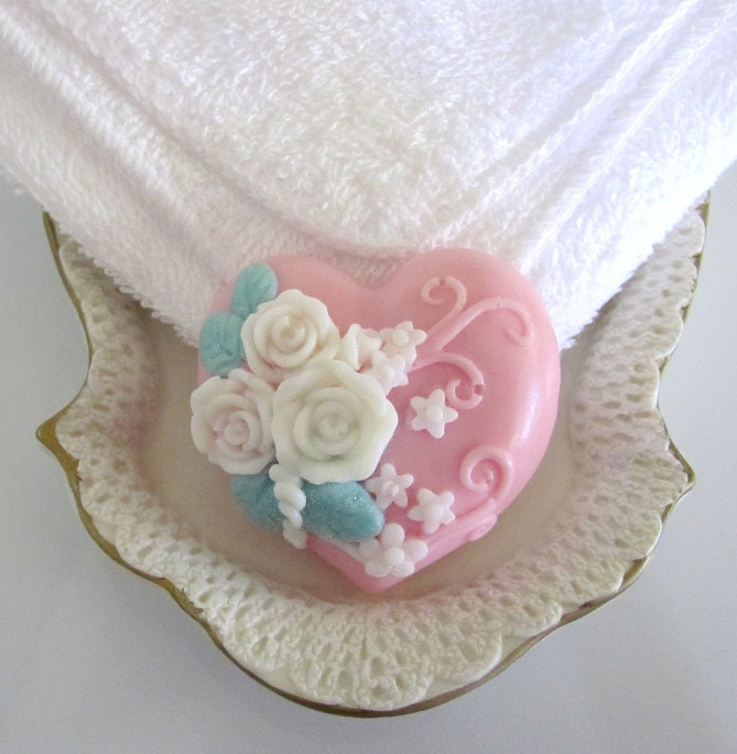 Heart Shaped Rose Goats Milk Soap with Floral Scent