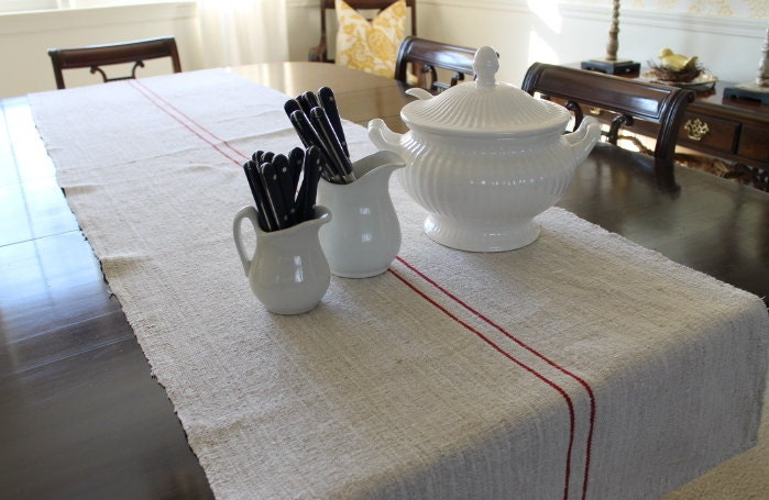 Grain Sack Table Runner Custom Made Your Choice of Red or Blue Stripes