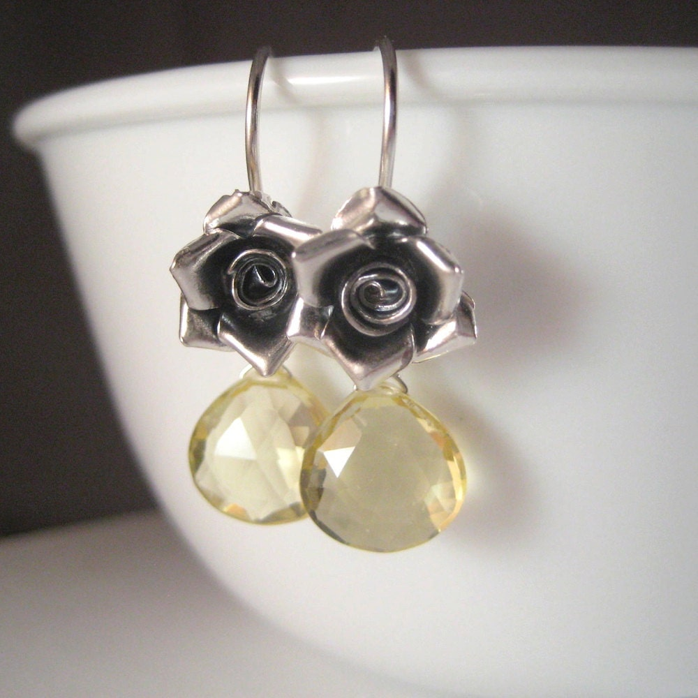 Lemon Quartz Earrings, Faceted Gemstone Briolette Earrings, Sterling Rose Earrings, Floral Jewelry Romantic - juliegarland