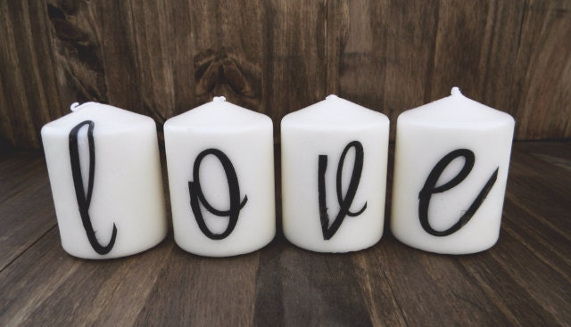 Love Is In The Air Set of Four 3 Inch Pillar Candles, Wedding gift, Engagement gift, gift for couple, Housewarming