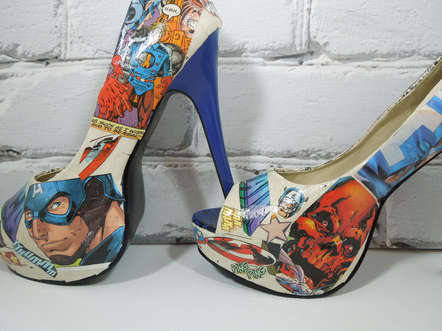 CaPtAiN AmErIcA Comic Book Heels-Valentine's Day-Wedding Day-Bday-For Her-Geeky Cool Shoes for Geeky Cool Girls
