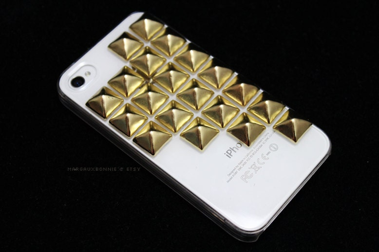 FREE Shipping US -- Gold Large Studs iPhone 4 4S Clear Studded Phone Case AT&T Verizon Sprint