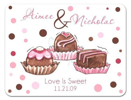 Love Is SO Sweet Trio of Truffles Personalized Stickers Wedding Stickers