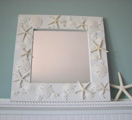 Shell Зеркало Пляж Декор - Все Белого Seashell Зеркала ш Морская звезда, ежей и жемчуг